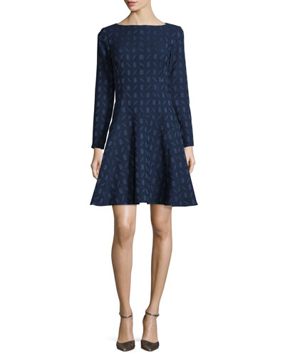 Geometric-Jacquard Long-Sleeve Dress, Navy
