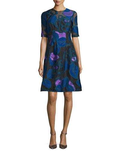 Holly Leaf Half-Sleeve Dress, Lapis/Multi