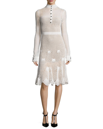 Long-Sleeve Button-Front Crochet Dress, White