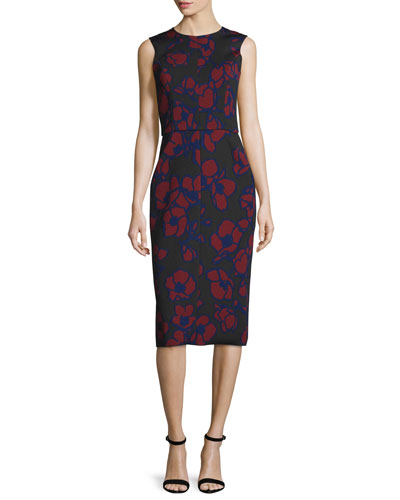 Sleeveless Poppy-Print Sheath Dress, Bordeaux/Black