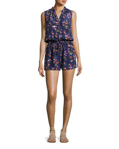 Firework Floral Button-Front Romper, Multicolor