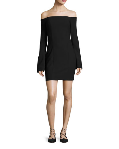 Niara Off-the-Shoulder Ponte Cocktail Dress, Black