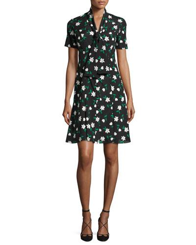 Garden Party Short-Sleeve Tie-Front Dress, Black Pattern