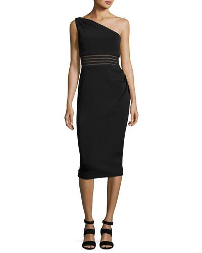 One-Shoulder Bandage Dress, Black