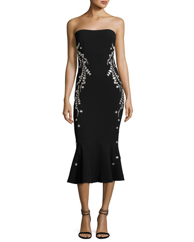 Luna Strapless Embroidered Flounce Midi Dress, Black/Pink