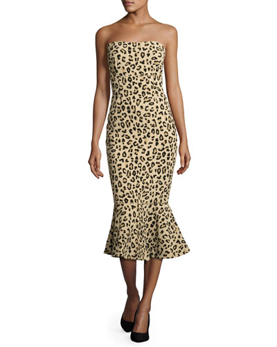 Luna Leopard-Print Strapless Mermaid Dress, Black/Tan