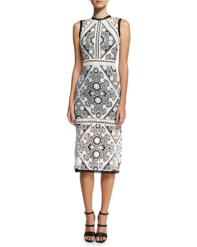 Keena Lace-Overlay Cocktail Dress, Black/White