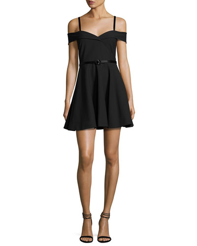 Larissa Belted Cold-Shoulder Fit & Flare Dress, Black