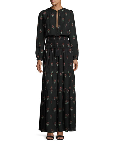 Cosimo Tiered Printed Silk Maxi Dress, Black