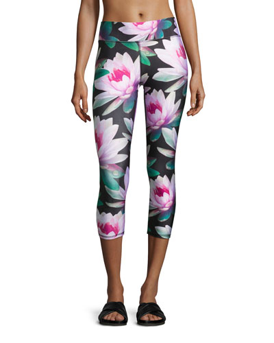 Loving Lotus Tall Band Capri Leggings, Multipattern