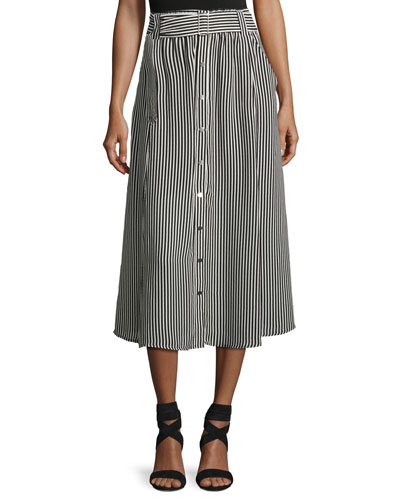 Divya Belted Striped Silk Midi Skirt, Black/White