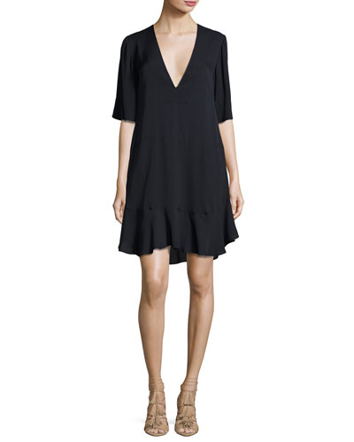 Delaney Short-Sleeve Silk Shift Dress, Navy