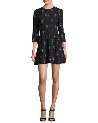 Terry 3/4-Sleeve Printed Silk Mini Dress, Black