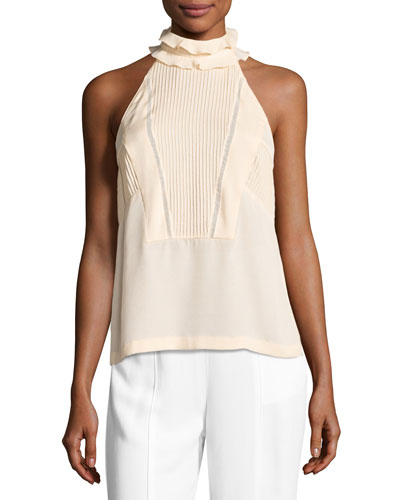 Grace Sleeveless Pintucked Silk Top, Blush