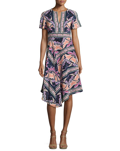 Short-Sleeve Asymmetric Printed Silk Dress, Black/Multicolor