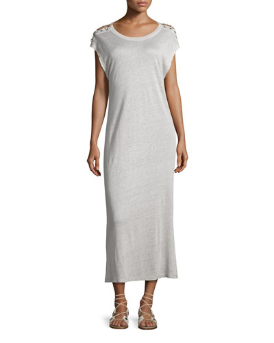 Iboga Linen Laced-Shoulder Midi Dress, Light Gray