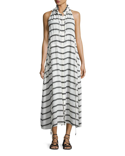 Karell Striped Voile Midi Dress, Ecru