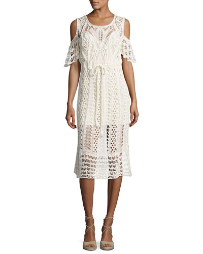 Cold-Shoulder Macrame Midi Dress, White