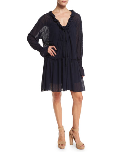Long-Sleeve Smocked Voile Shift Dress, Navy