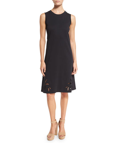 Sleeveless Embroidered Jersey Dress, Black