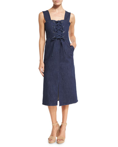 Sleeveless Laced Stretch Denim Midi Dress, Blue
