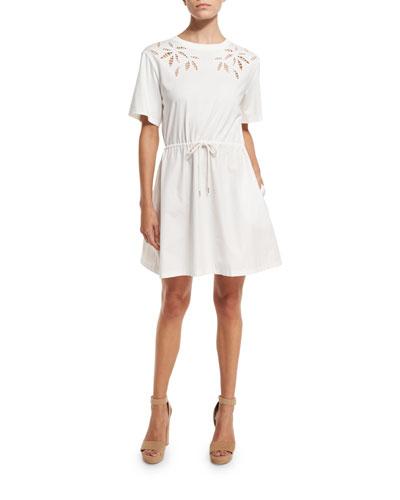 Short-Sleeve Embroidered Poplin Dress, Off White