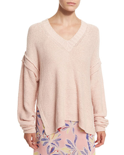 Oversized V-Neck Pullover Sweater, Pink