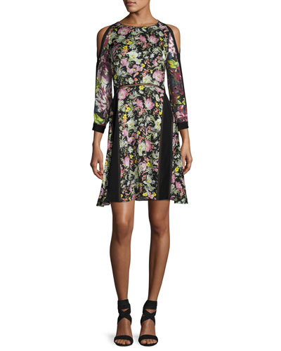 Cold-Shoulder Floral Silk Dress, Multicolor
