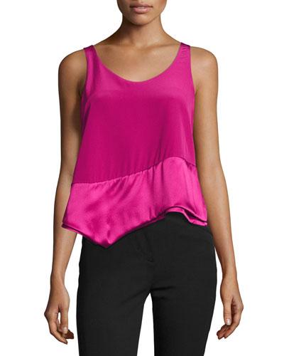 Layered Asymmetric Silk Tank, Pink