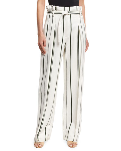 Striped Belted Paperbag-Waist Pants, White