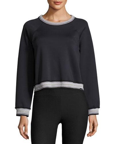 Club Raglan Rib-Stripe Sweatshirt, Black