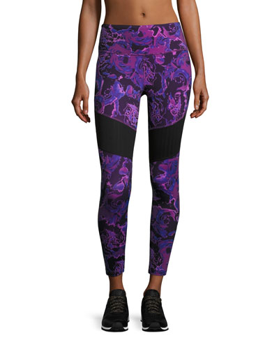 Motivation Mesh Performance Leggings, Wood Violet Roses Print