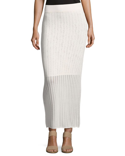 Suvi Ribbed-Knit Maxi Skirt, Off/White