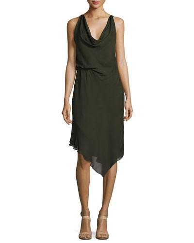 Roberta's Draped Silk Midi Dress, Olive