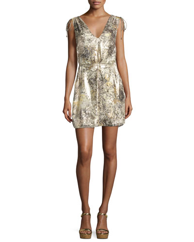 The Follow Me Metallic Floral Dress, Gold Multicolor