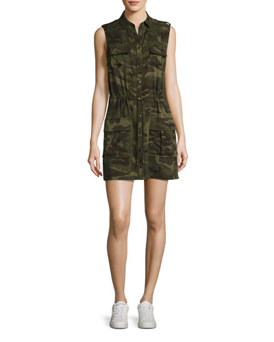 The Safari Sleeveless Camo Dress, Olive