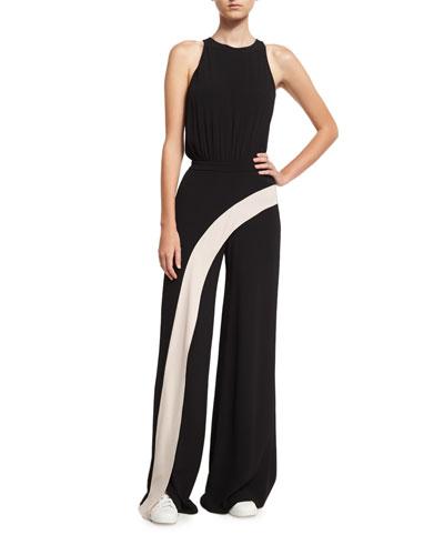 Deanne Sleeveless Contrast-Stripe Wide-Leg Jumpsuit, Black