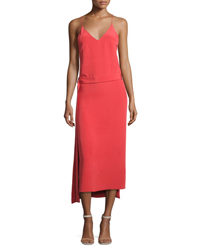 Analiai Wrap Slip Dress, Pink