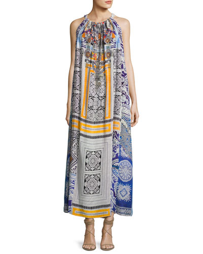 Printed Silk Crepe Halter Maxi Dress, Multicolor