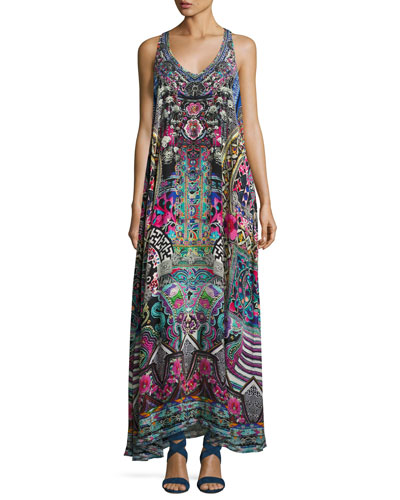 Embellished Silk Racerback Maxi Dress, Multicolor