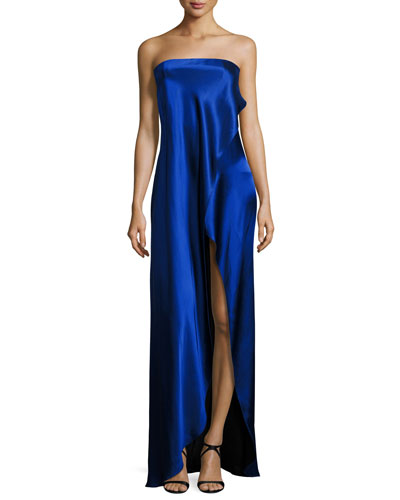 Strapless Draped Satin Side-Slit Gown