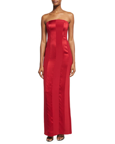 Tonal Satin-Stripe Strapless Tailored Gown, Red