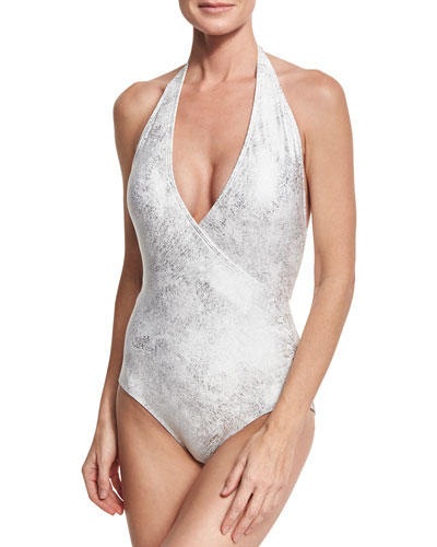 Surplice Halter One-Piece Swimsuit, White