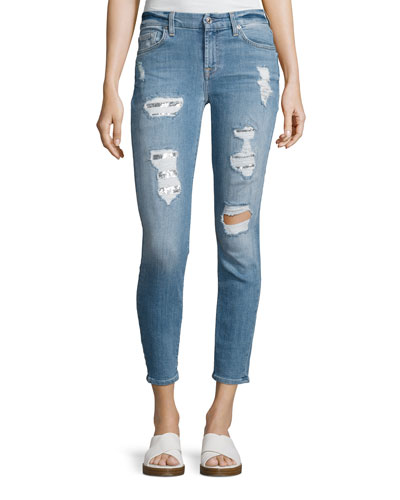 Destroyed Sequin Skinny Ankle Jeans, Indigo