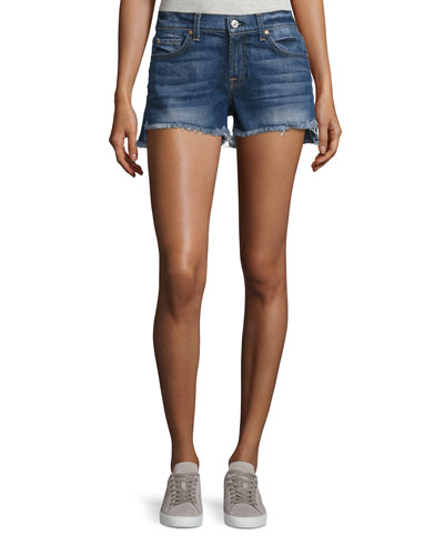 Cutoff Denim Shorts w/Step Hem, Blue
