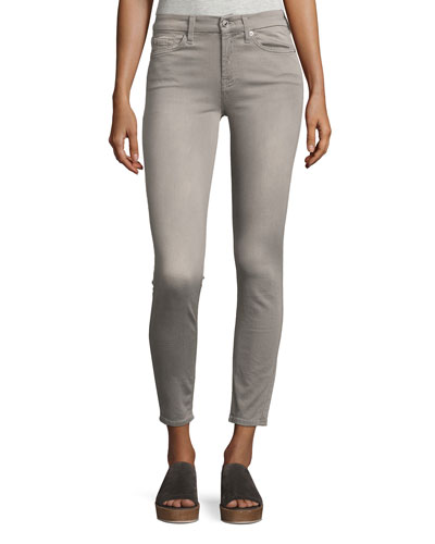 The Ankle Mid-Rise Skinny Jeans, Gray