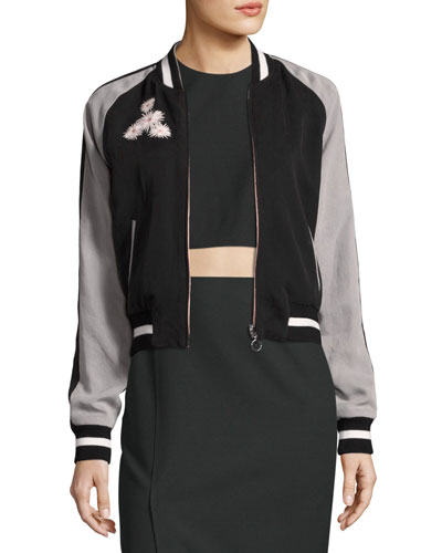 Willa Embroidered Colorblock Bomber Jacket, Black