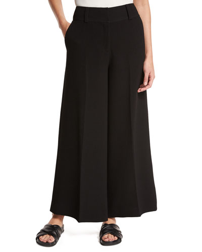 Kensington Cropped Wide-Leg Trousers, Black