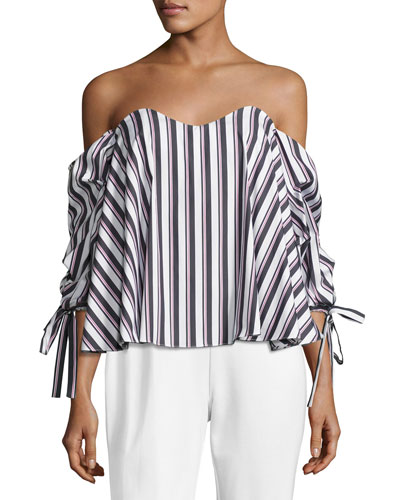 Gabriella Off-the-Shoulder Striped Top, Black/White