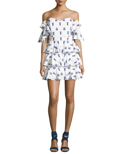 Irene Ruffled Cotton Dress, Blue